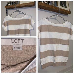 Loft - Medium - Striped Knit T-Shirt